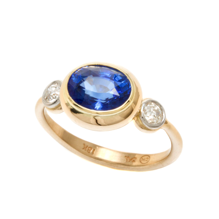 Faceted Blue Sapphire & European Cut Diamond Ring