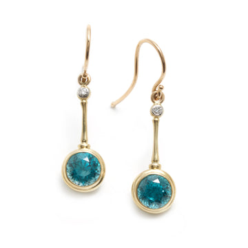 Blue Zircon and Diamond Earrings