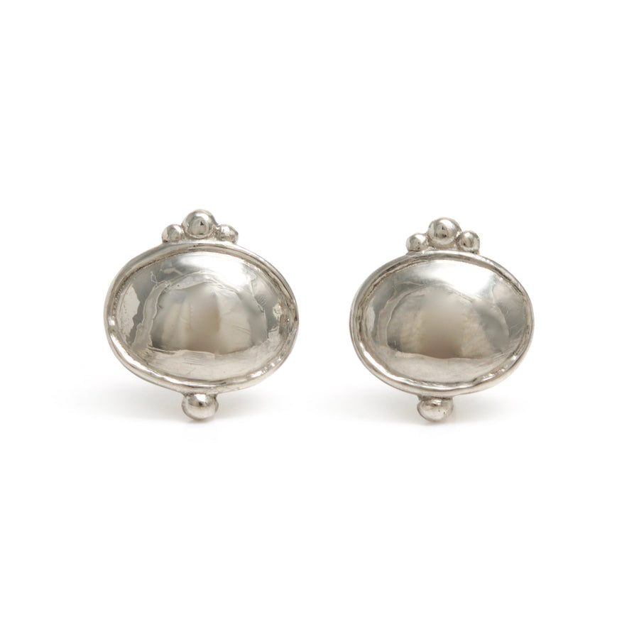 Classic Oval Stud Earrings in Platinum