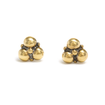 Trio Stud Earrings in 18K Yellow Gold