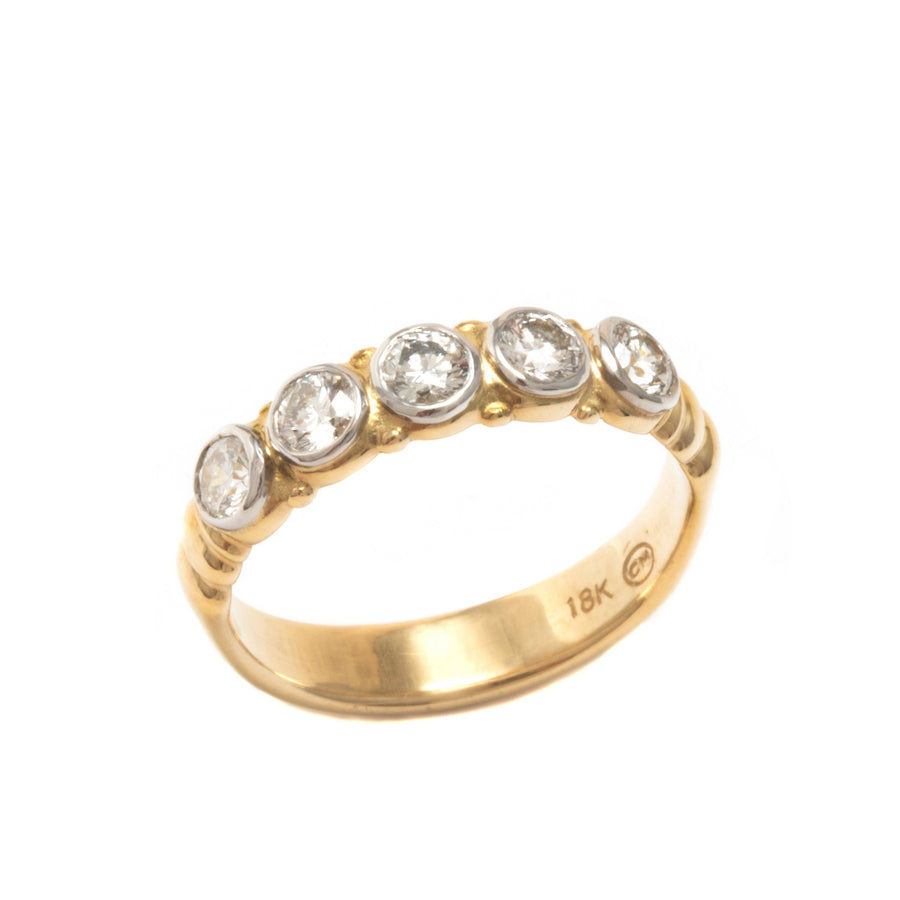 Five Stone Band Style Anniversary Ring