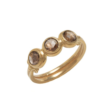 Curl Motif Three Stone Ring