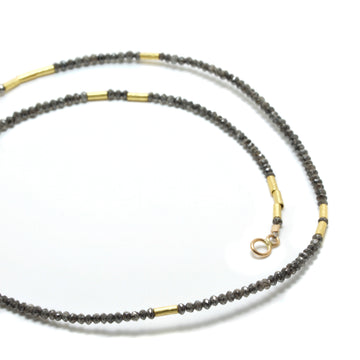Dark Gray Diamond Necklace with High Karat Gold Beads
