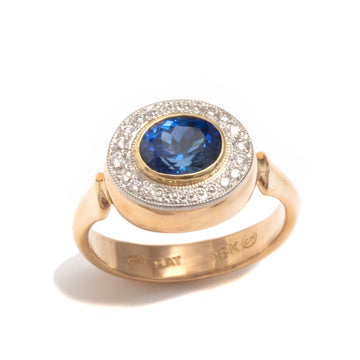 Blue Sapphire Ring with Diamond & Bead Halo