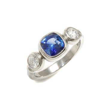 Blue Sapphire & Diamond Ring in Platinum