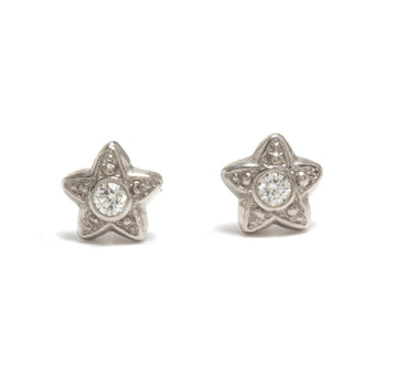 Star Stud Earrings in Platinum