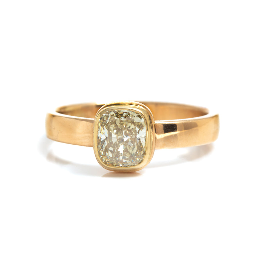 Stackable Cushion Cut Diamond Ring in 18K Yellow Gold