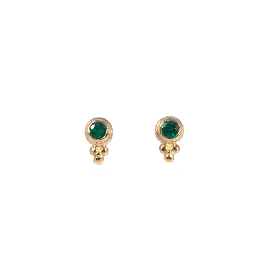 Delicate Emerald Stud Earrings with Beads