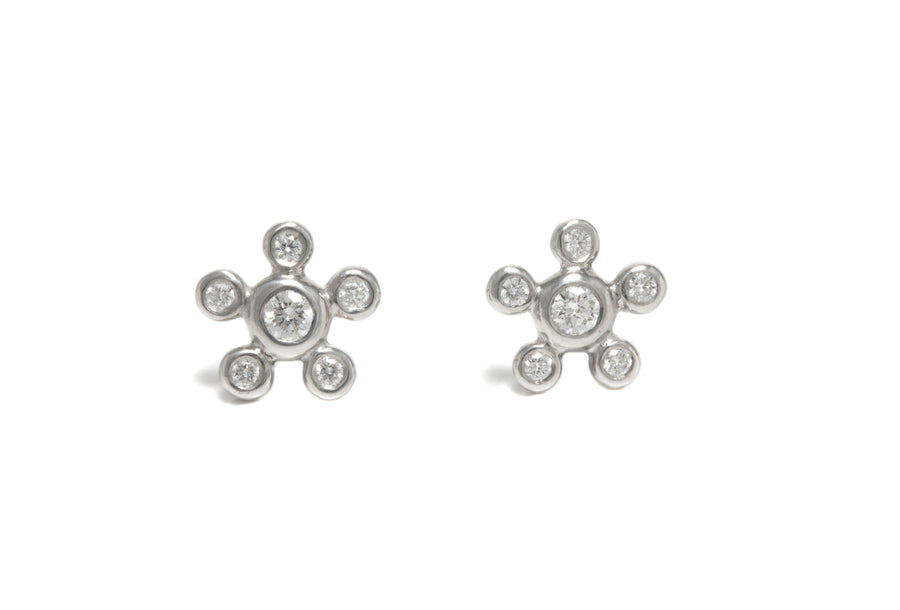 Diamond Burst Stud Earrings in Platinum