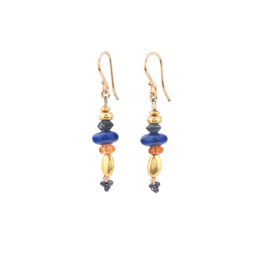 Lapis Lazuli & High Karat Gold Earrings