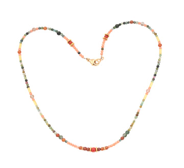 Multi Color Gem & High Karat Beaded Necklace