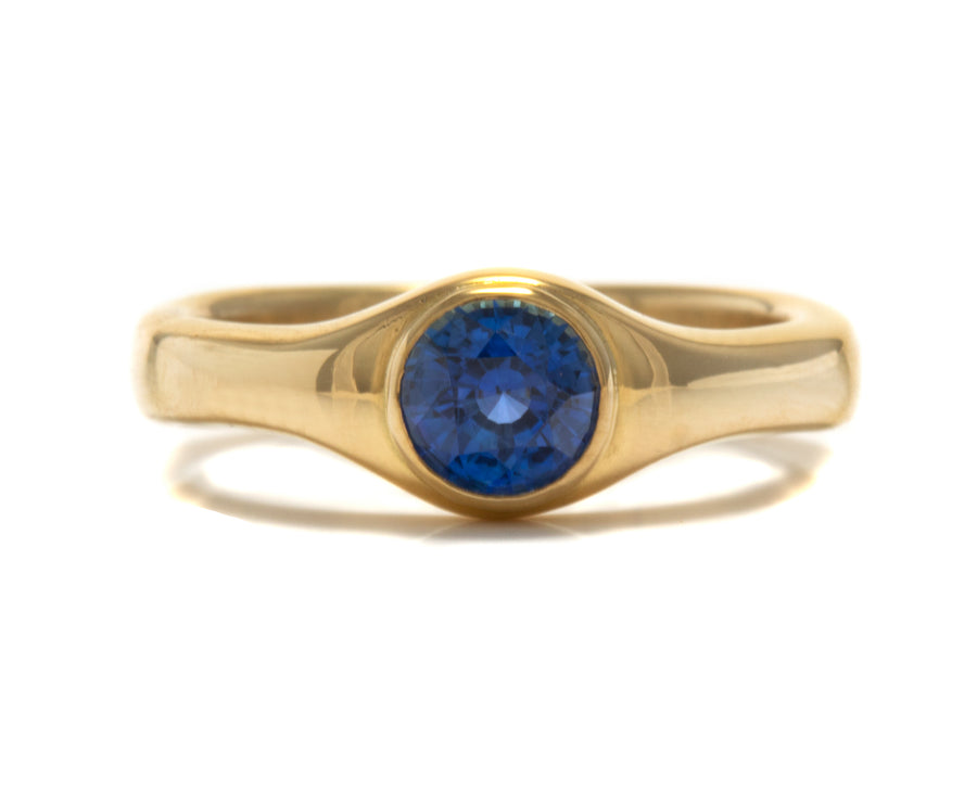 Carved Gypsy Style Blue Sapphire Ring