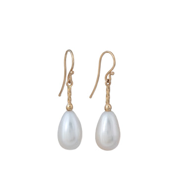 Pearl Drop Earrings with Twisted Wire