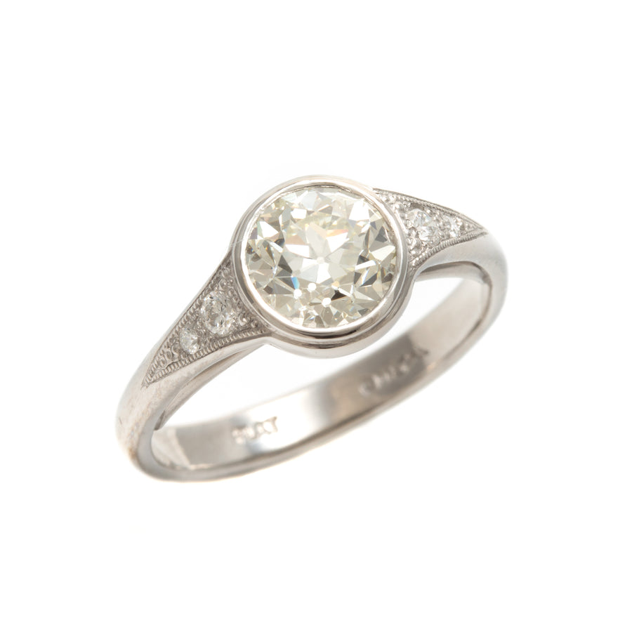 European Cut Diamond Ring in Platinum