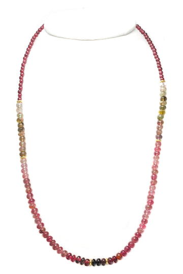 High Karat Gold, Watermelon Tourmaline & Garnet Beaded Necklace