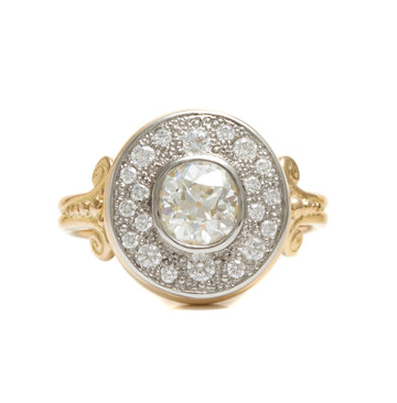 Old Mine Cut Ring with Bead-Set Surrounding Diamonds