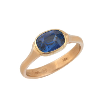Lunette Style Blue Sapphire Ring