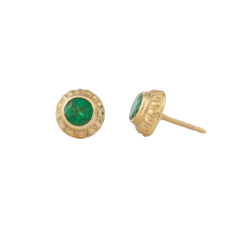 Carved Stud Earrings with Emeralds