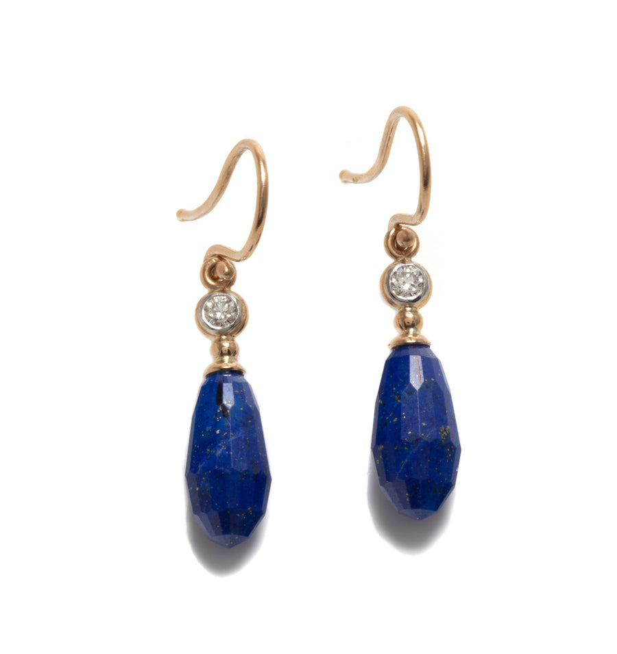 Lapis Lazuli Drop Earrings with Diamonds