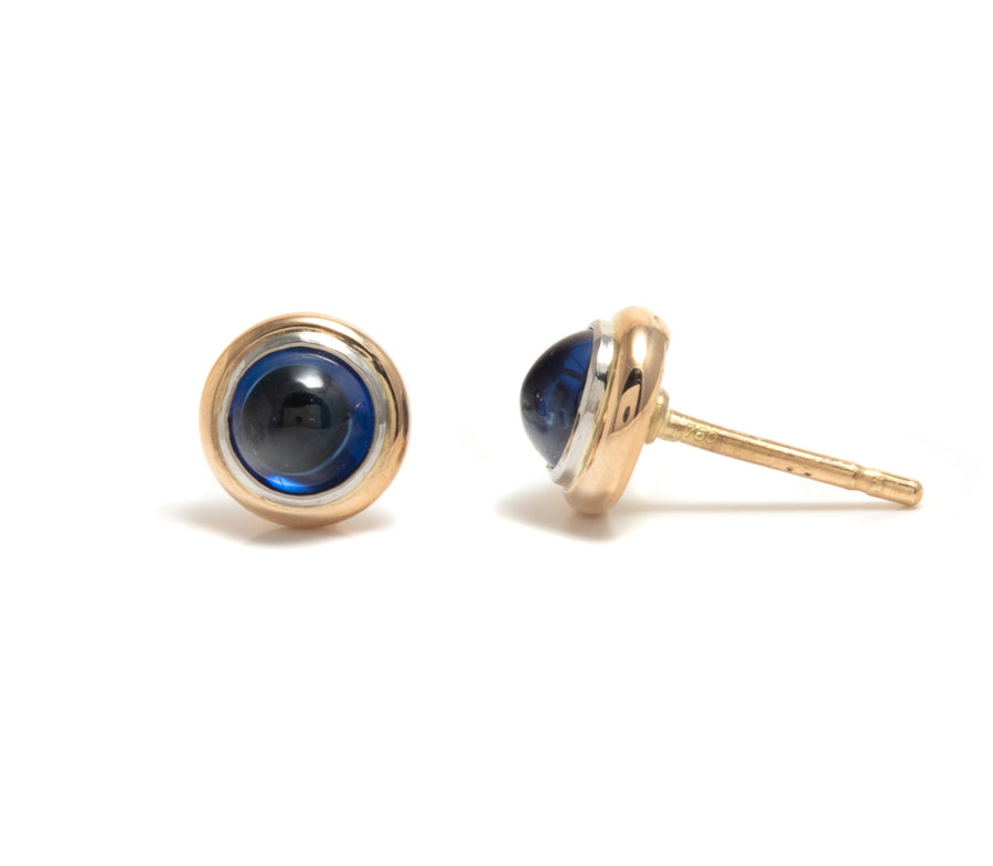 Cabochon Cut Blue Sapphire Earrings
