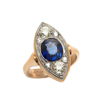 Blue Sapphire & European Cut Diamond Navette Style Ring