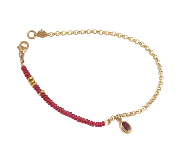 Ruby Bead & Chain Bracelet
