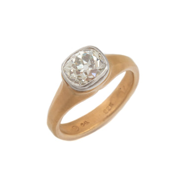Old Mine Cut Diamond Ring in 22K Gold