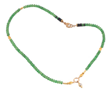 Tsavorite Garnet & Rose Cut Diamond Necklace