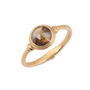 Cognac Colored Rose Cut Diamond Ring