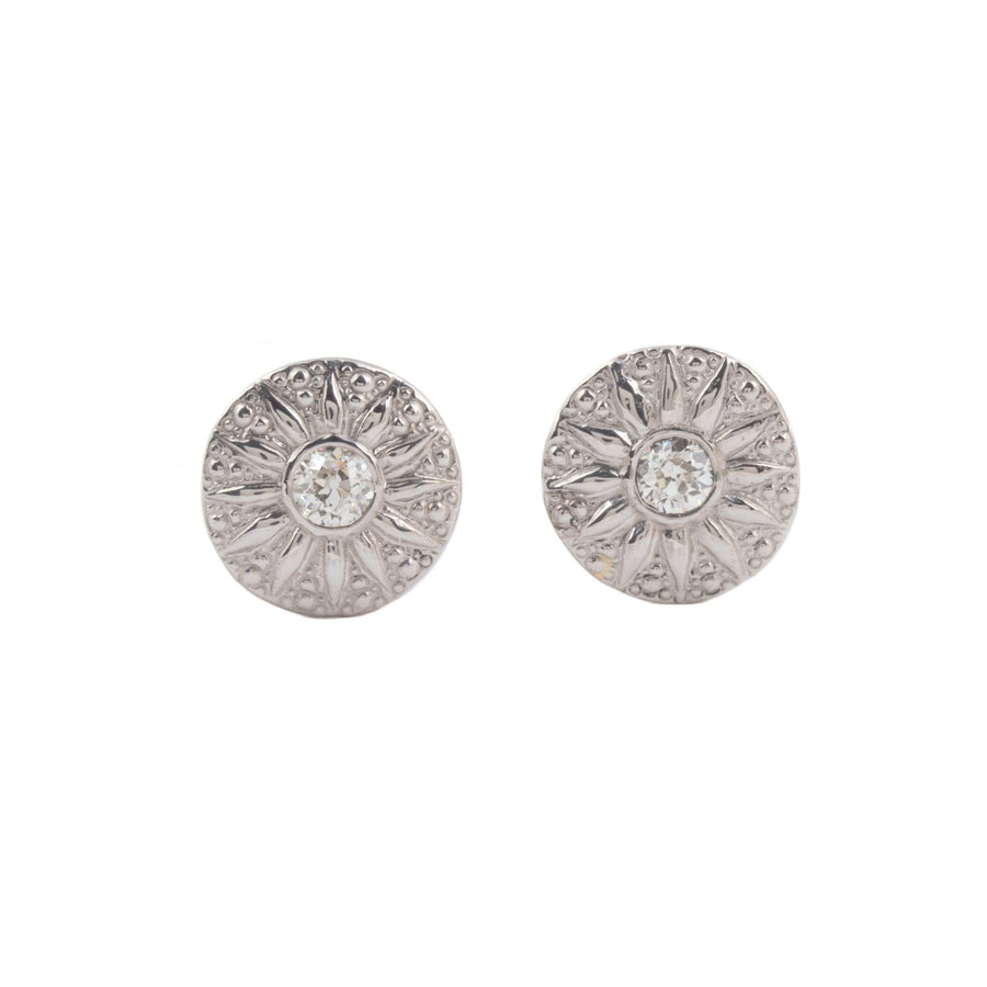 Platinum Sunburst Diamond Earrings