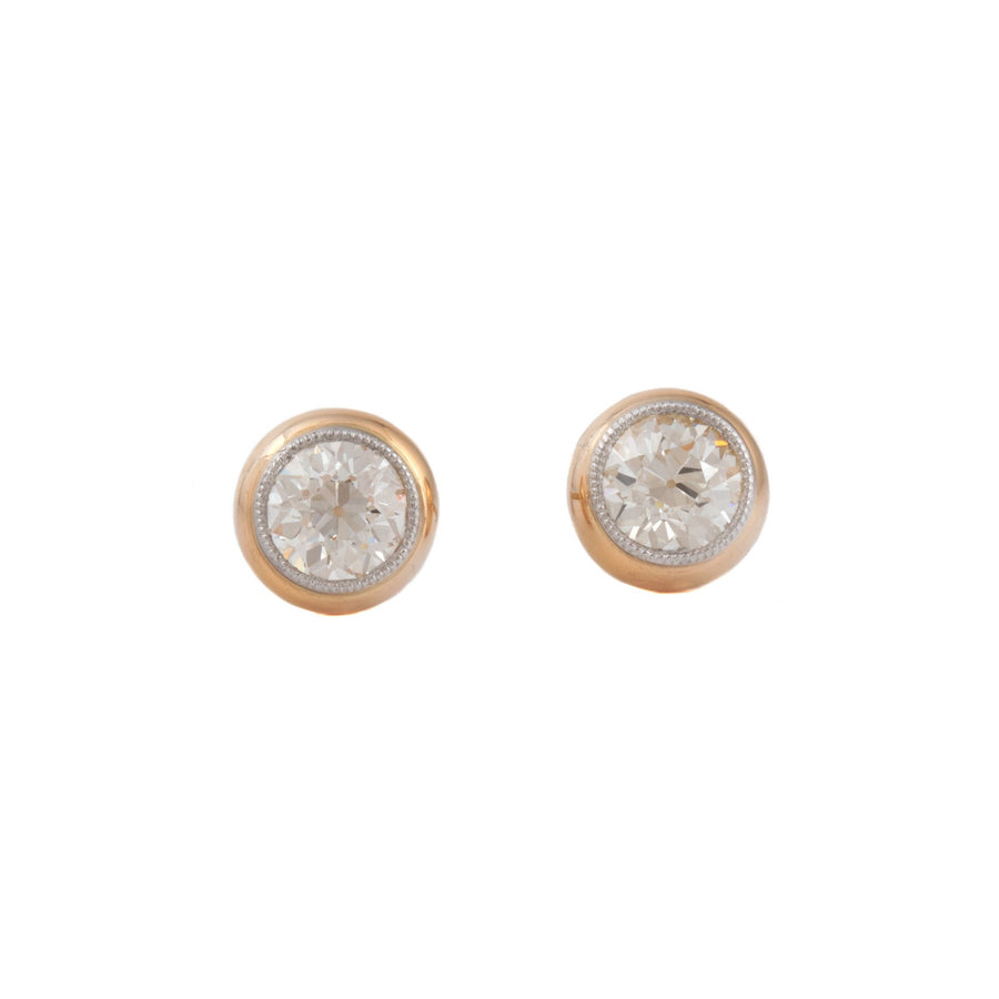 European Cut Diamond Stud Earrings