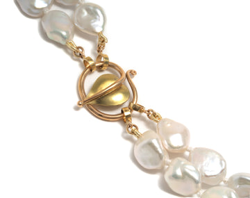 Forged Leaf Clasp with a Double Strand of White Freshwater Baroque Pearls
