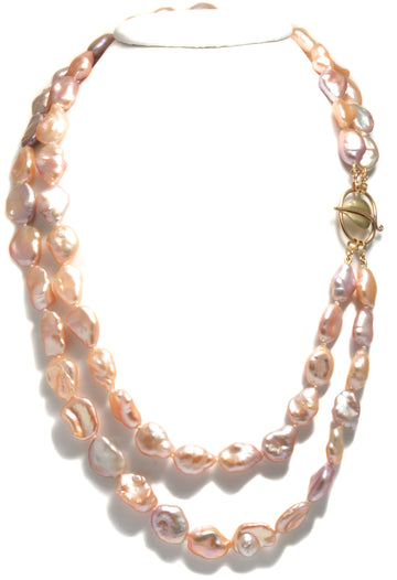 Forged Leaf Clasp with Naturally Multi-Colored Freshwater Baroque Pearls