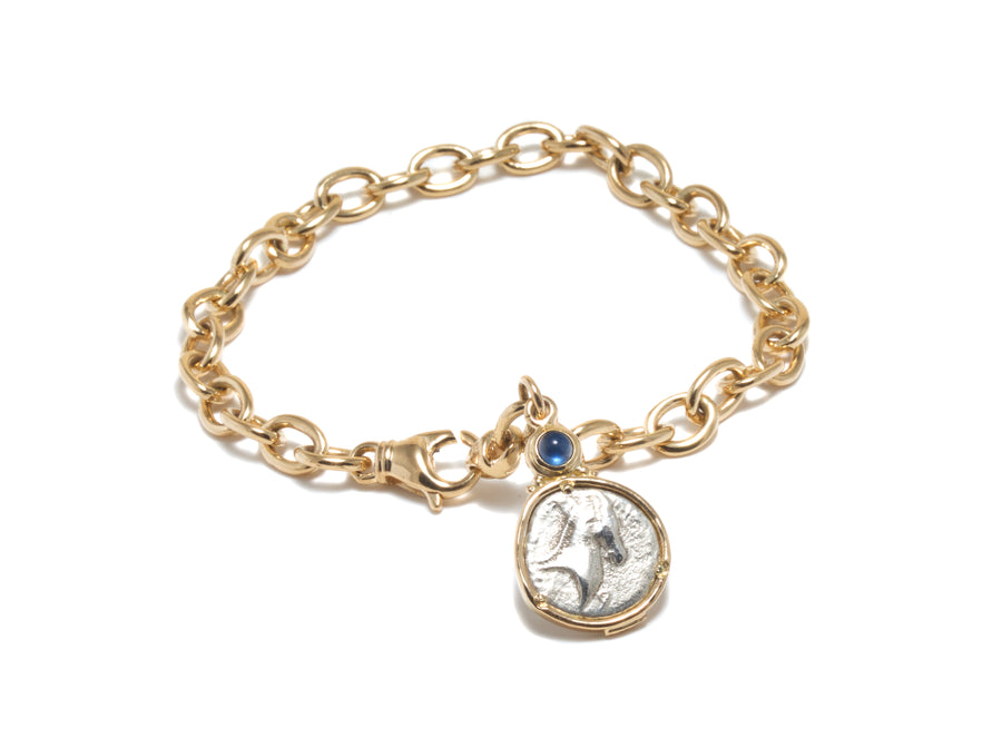 Athena and Horse Coin Bracelet in 18k Gold