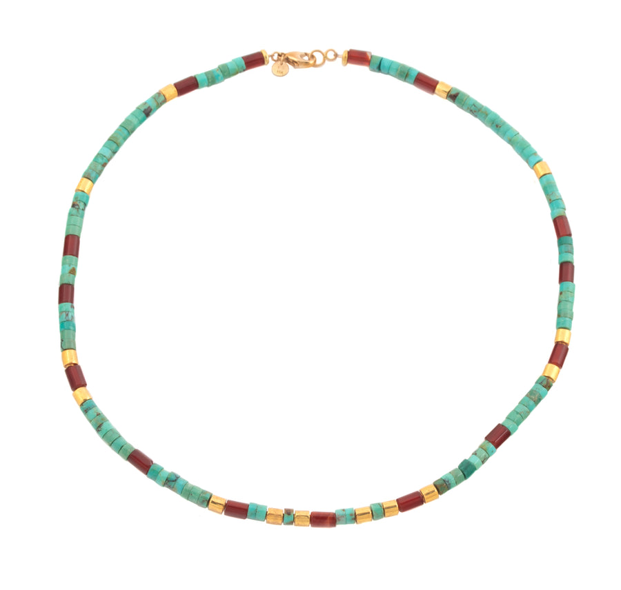 Turquoise and Carnelian High Karat Gold Necklace