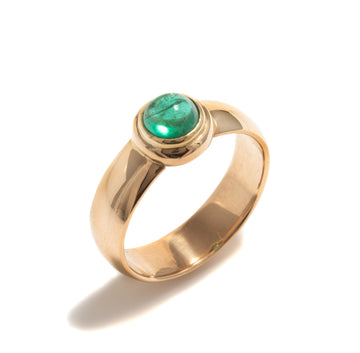 Wide Band Style Emerald Ring