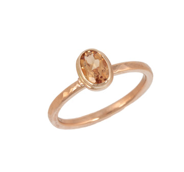Stackable Ring with Topaz in Rose Gold