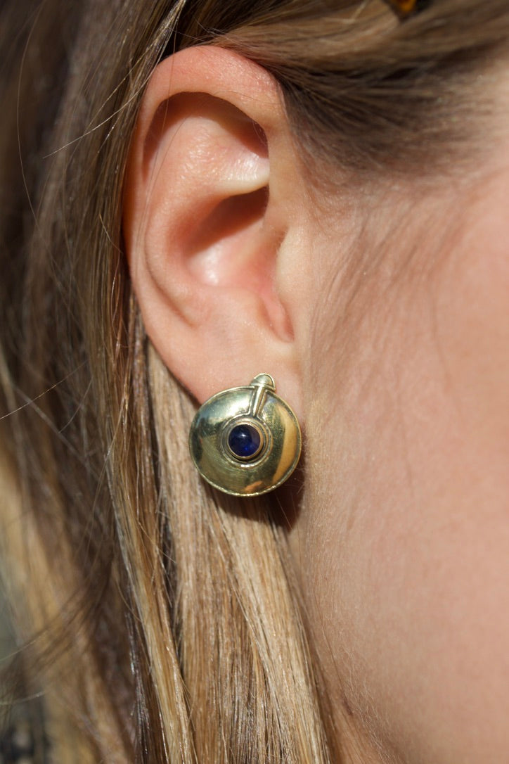 Large Stud Earrings with Blue Sapphire