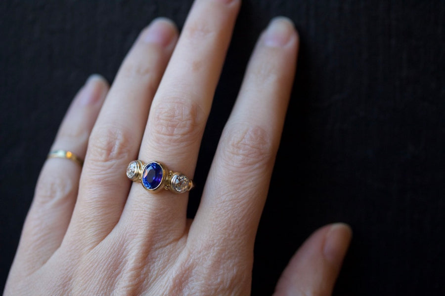 Blue Sapphire & Old Mine Cut Diamond Ring