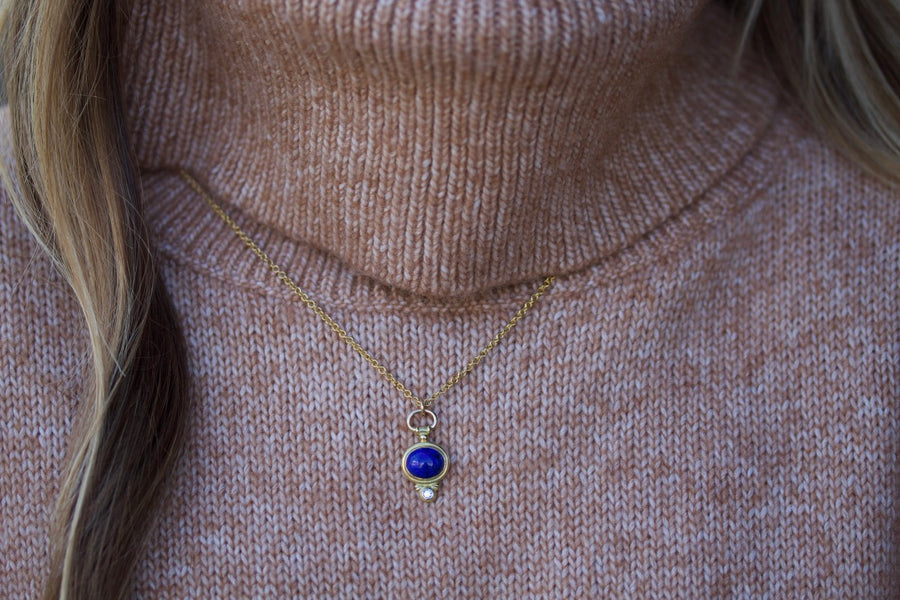 """Watch Top"" Pendant with Lapis Lazuli & Diamond"