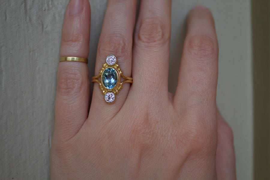 Aquamarine & European Cut Diamond Dinner Ring