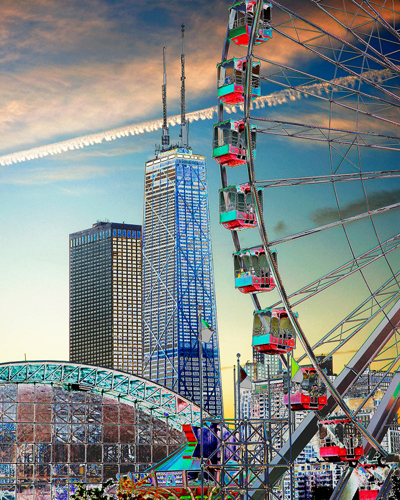 """Chicago Waterfront: A Day at Navy Pier"" Gallery Wrapped Canvas"