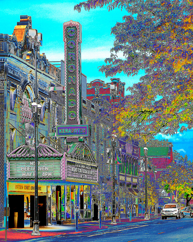 """Coronado Theatre: Rockford's Crown Jewel"" (blue version) Gallery Wrapped Canvas"