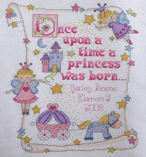 Princess Birth Record - A Bucilla counted cross stitch kit