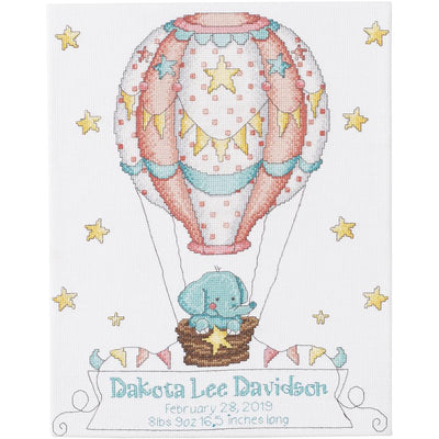 Up Up and Away Birth Record - A Bucilla counted cross stitch kit