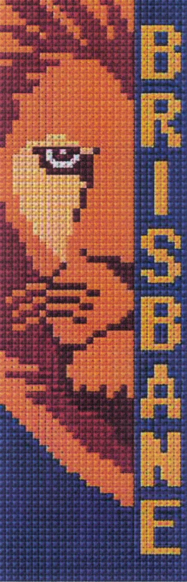 Brisbane Lions AFL Logo Cross Stitch Design for a Bookmark - stitchaphoto