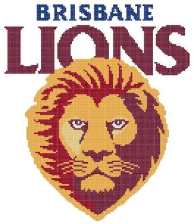 Brisbane Lions AFL Logo Cross Stitch Design - stitchaphoto