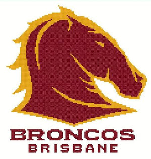 Brisbane Broncos NRL Logo Cross Stitch Design - stitchaphoto