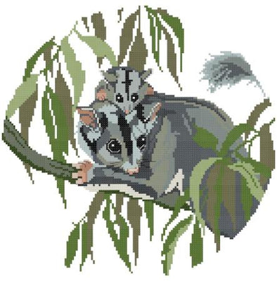 Striped Possum Cross Stitch Design - stitchaphoto