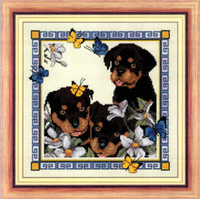 Load image into Gallery viewer, Butterfly Pups Cross Stitch Design - stitchaphoto